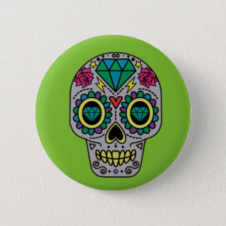 Abstract Funky Colorful sugar skull 2 Inch Round Button