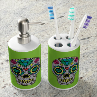 Abstract Funky Colorful sugar skull Bathroom Set