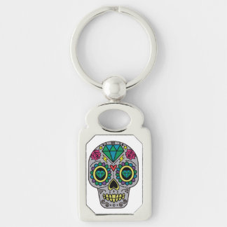 Abstract Funky Colorful sugar skull Keychain