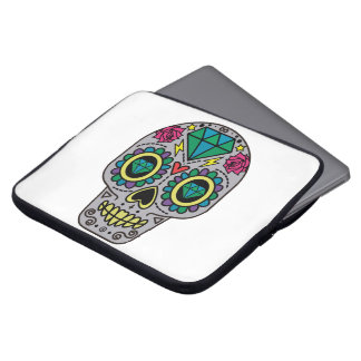 Abstract Funky Colorful sugar skull Laptop Sleeve
