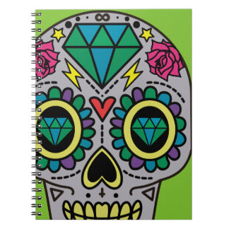 Abstract Funky Colorful sugar skull Notebook