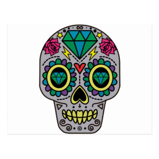 Abstract Funky Colorful sugar skull Postcard