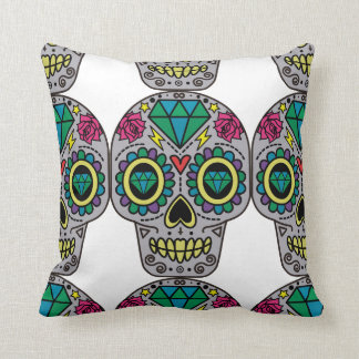 Abstract Funky Colorful sugar skull Throw Pillow