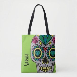 Abstract Funky Colorful sugar skull Tote Bag