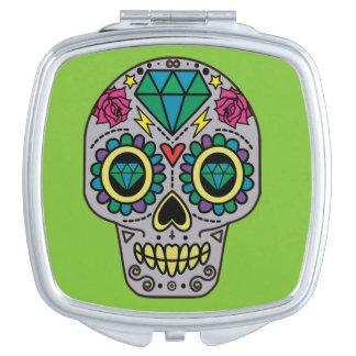 Abstract Funky Colorful sugar skull Vanity Mirror