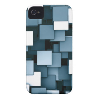 Abstract Futuristic blue Cube Voxel Pattern iPhone 4 Case-Mate Case