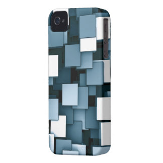 Abstract Futuristic Blue Cube Voxel Pattern iPhone 4 Cases