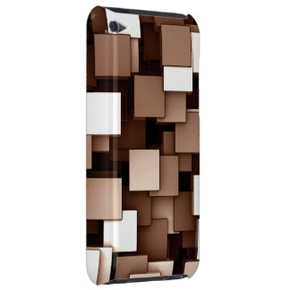 Abstract Futuristic Brown Cube Voxel Pattern Barely There iPod Case