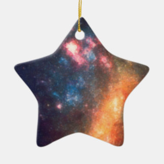 Abstract Galactic Color of Nebula Cloud Ceramic Ornament