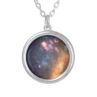 Abstract Galactic Color of Nebula Cloud Silver Plated Necklace