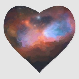 abstract galactic nebula no 1 heart sticker