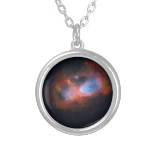 abstract galactic nebula no 1 silver plated necklace
