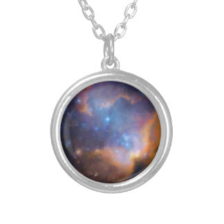 abstract galactic nebula no 2 silver plated necklace