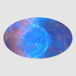 Abstract Galactic Nebula with cosmic cloud 10 Oval Sticker