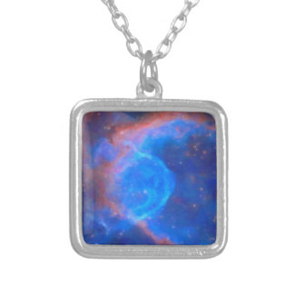 Abstract Galactic Nebula with cosmic cloud 10 Silver Plated Necklace