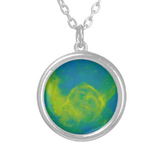Abstract Galactic Nebula with cosmic cloud 11 Silver Plated Necklace