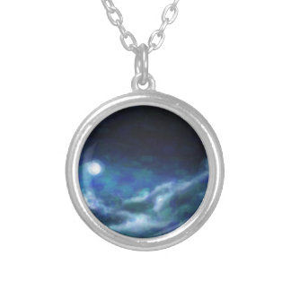 Abstract Galactic Nebula with cosmic cloud  14 Silver Plated Necklace