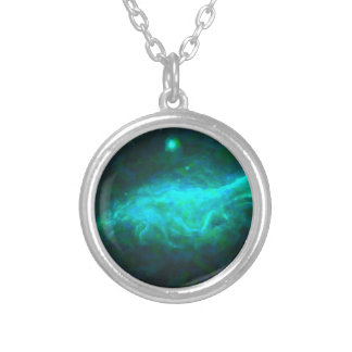Abstract Galactic Nebula with cosmic cloud 15 Silver Plated Necklace