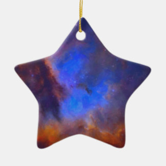 Abstract Galactic Nebula with cosmic cloud 2 Ceramic Ornament