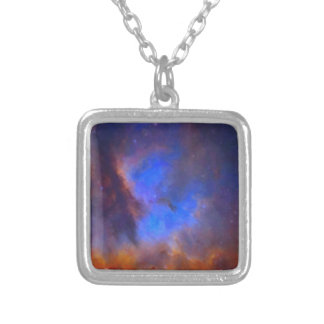 Abstract Galactic Nebula with cosmic cloud 2 Silver Plated Necklace