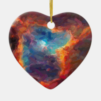 Abstract Galactic Nebula with cosmic cloud 4 Ceramic Ornament