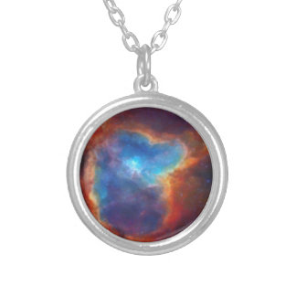 Abstract Galactic Nebula with cosmic cloud 4a Silver Plated Necklace