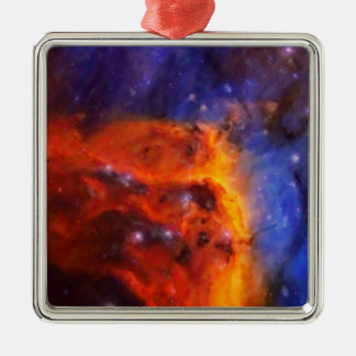 Abstract Galactic Nebula with cosmic cloud 5 Metal Ornament