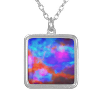 Abstract Galactic Nebula with cosmic cloud 7a   24 Silver Plated Necklace