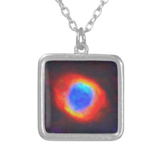 Abstract Galactic Nebula with cosmic cloud 9 Silver Plated Necklace