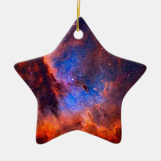Abstract Galactic Nebula with cosmic cloud Ceramic Ornament