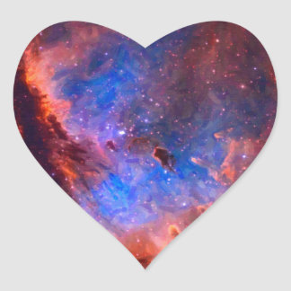 Abstract Galactic Nebula with cosmic cloud Heart Sticker