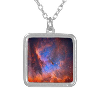 Abstract Galactic Nebula with cosmic cloud Silver Plated Necklace