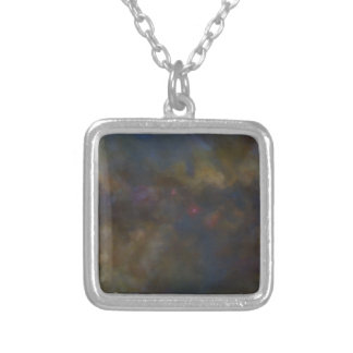 Abstract Galaxy with cosmic cloud Silver Plated Necklace
