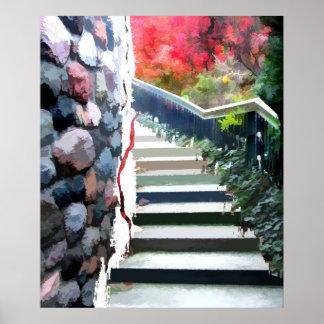 Abstract Garden Staircase Poster
