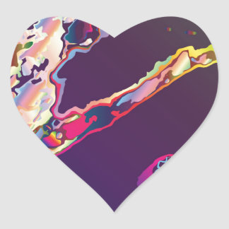 Abstract Gasoline On Water Heart Sticker