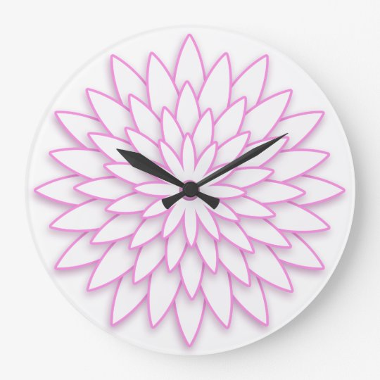Abstract geometric 3D flower. Large Clock