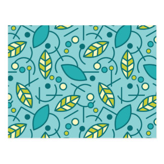Abstract Geometric Aqua Seamless Pattern Postcard