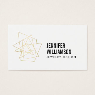 Abstract Geometric Architectural Logo White/Gold Business Card