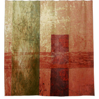 Abstract Geometric Art Grunge Red Orange Green