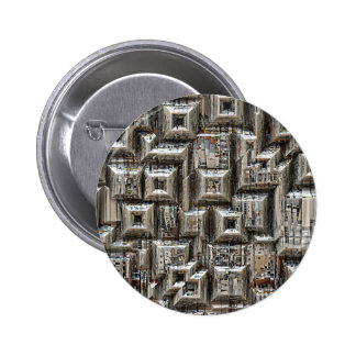 Abstract Geometric City Collage 2 Inch Round Button