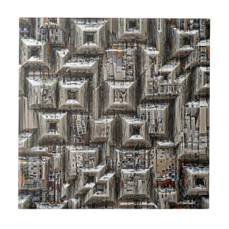 Abstract Geometric City Collage Ceramic Tile