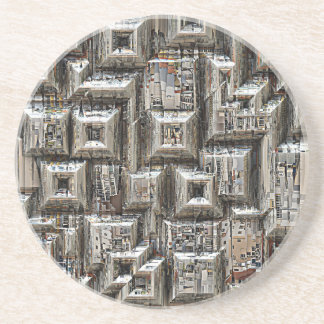 Abstract Geometric City Collage Drink Coaster