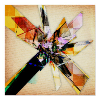 Abstract Geometric Collage Poster