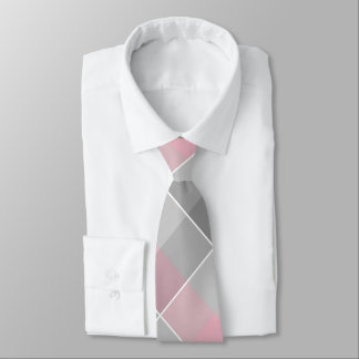 abstract geometric colorblocks pink gray tie