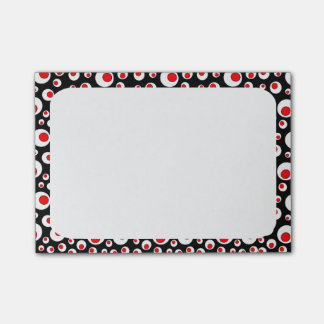 Abstract Geometric Cool Red White Circles Post-it Notes