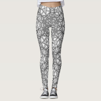 Abstract Geometric Floral Pattern Leggings