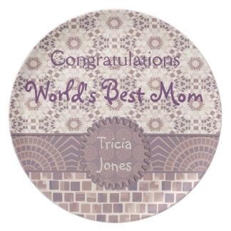 Abstract Geometric Grunge Lavender Mosaic Tiles Dinner Plates
