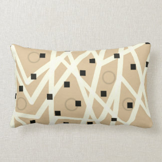 abstract geometric modern pillow tan and white