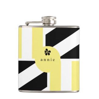 Abstract, Geometric, Modern Yellow Stripes Hip Flask
