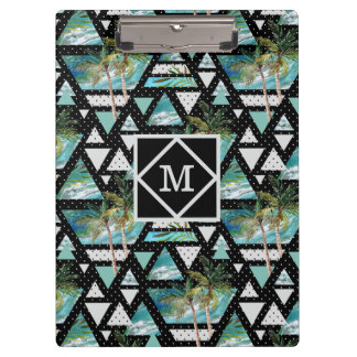 Abstract Geometric Palms & Waves Pattern Clipboard